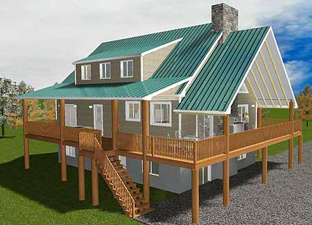 Vacation home with wrap around porch 61269ut beach for Vacation home plans with loft