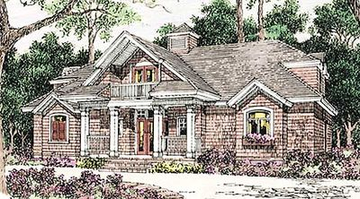 Shingle Style House Plan with Soaring Great Room - 62088V thumb - 01
