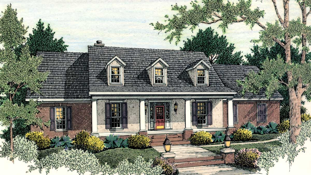 Classic american home plan 62100v architectural for Classic american homes floor plans