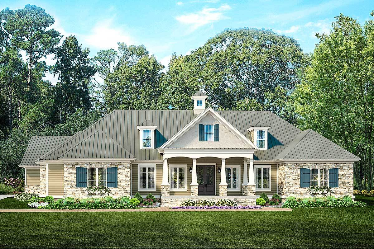 Ranch home plan with pool house 62134v architectural for Home plans with pools