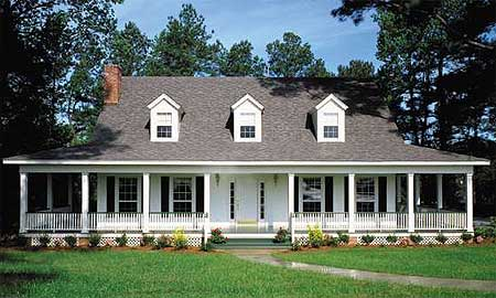 Country home with wrap around porch 6221v for Country style homes with wrap around porch