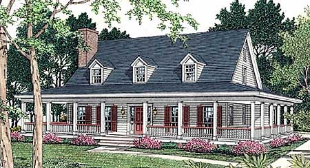 Country Home   Wrap Around Porch   V   st Floor Master    Plan V