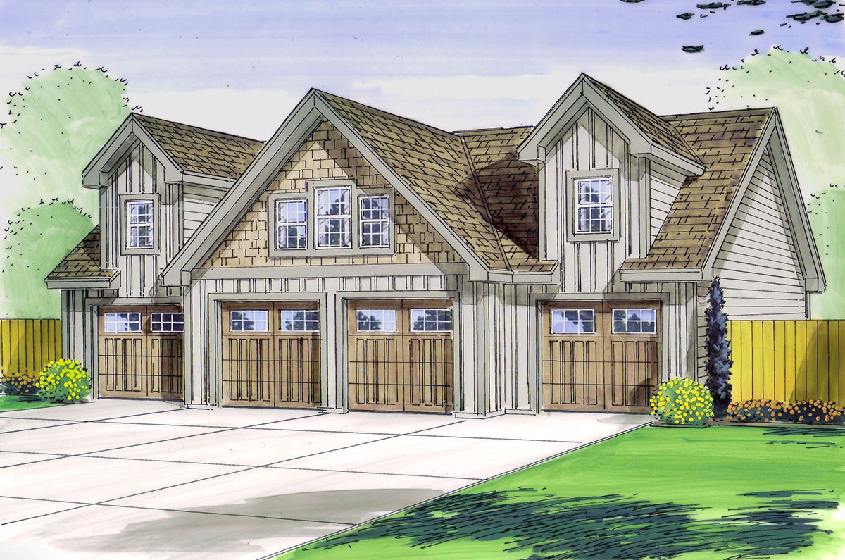4 bay garage with loft 62468dj architectural designs for 2 bay garage plans