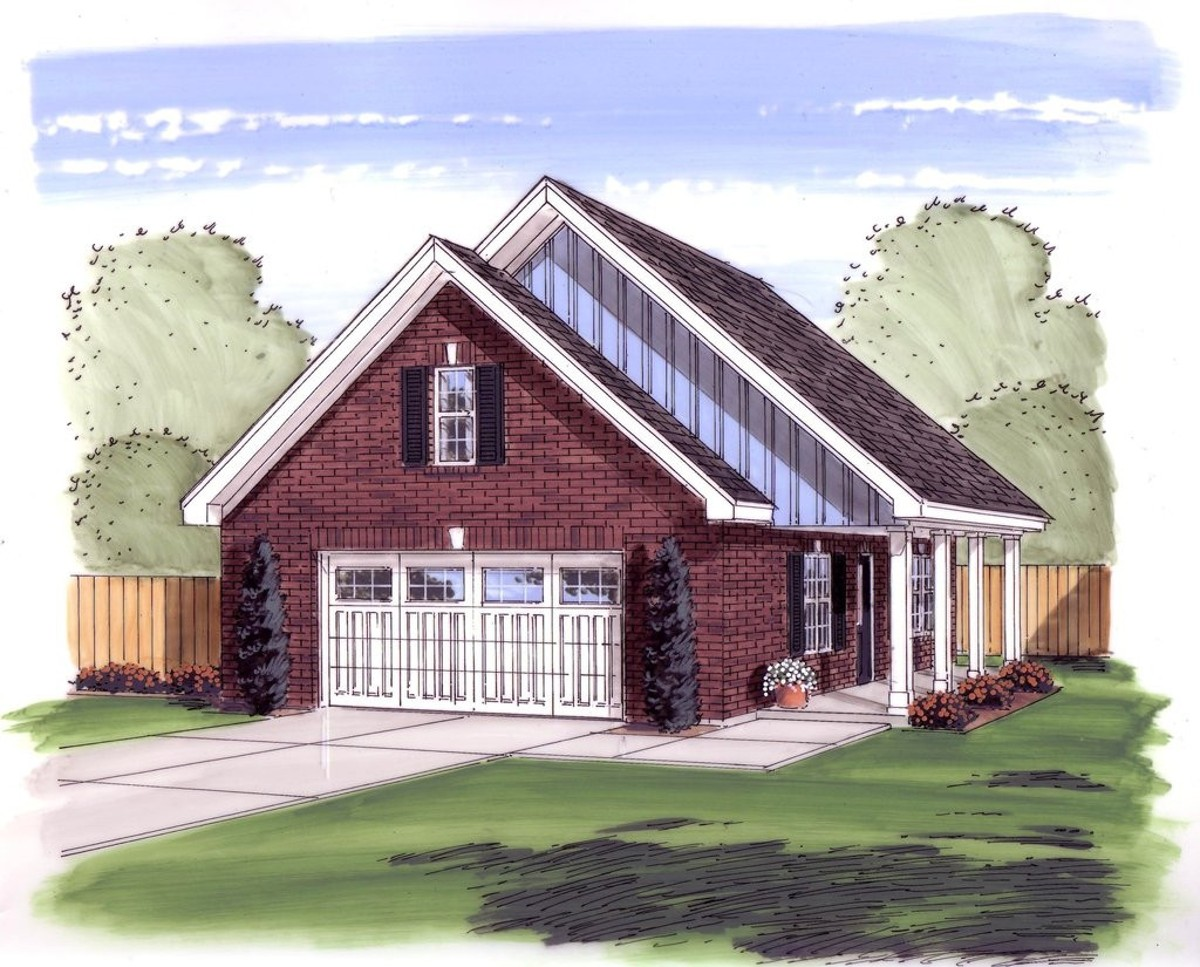 2 car garage or workshop with porch 62475dj for House plans with portico garage