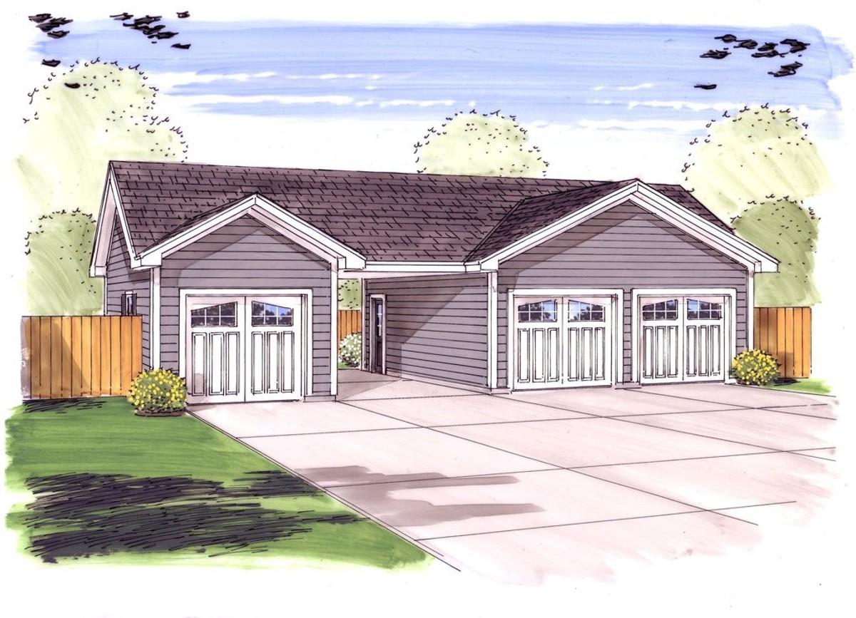 3 car garage plus carport 62479dj cad available pdf for Three car garage plans