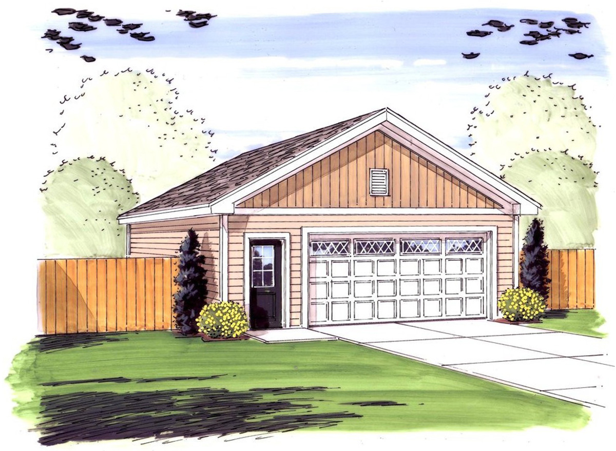 simple 2 car garage with man door 62481dj architectural