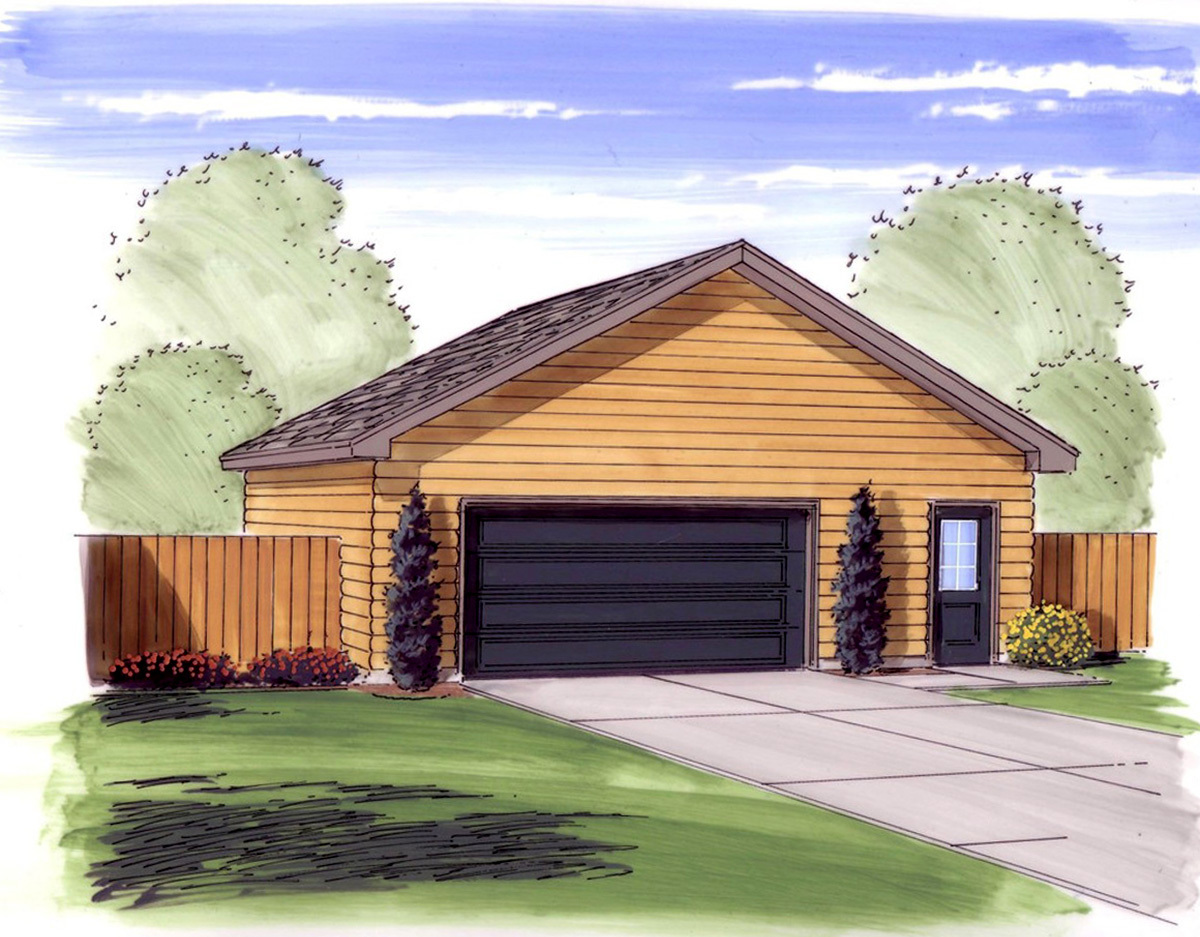 2 car garage with man door 62484dj architectural for 2 door garage plans
