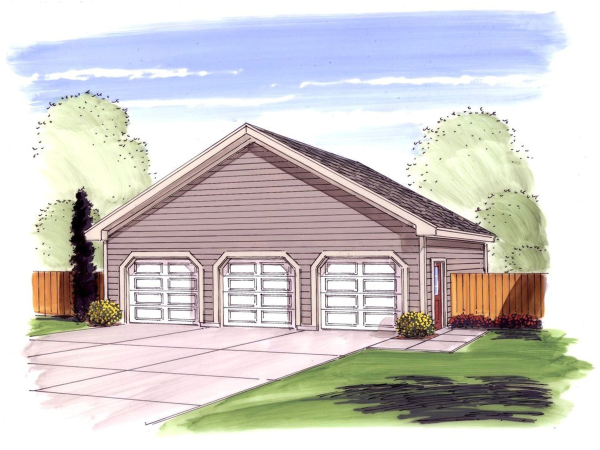 Simple 3 car garage with storage 62485dj cad available for Simple house plans with garage