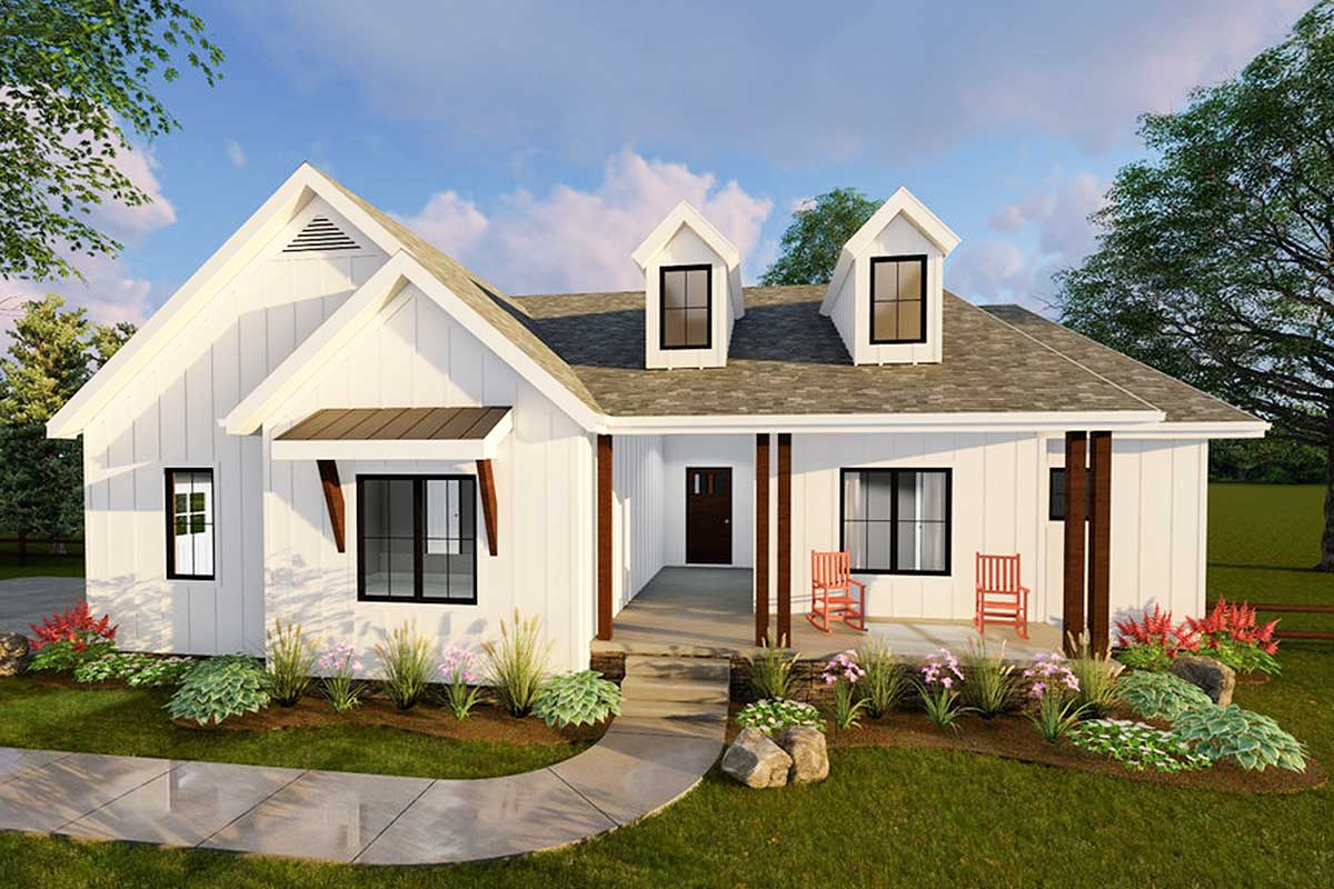 Compact Modern Farmhouse Ranch Home Plan - 62500DJ ...