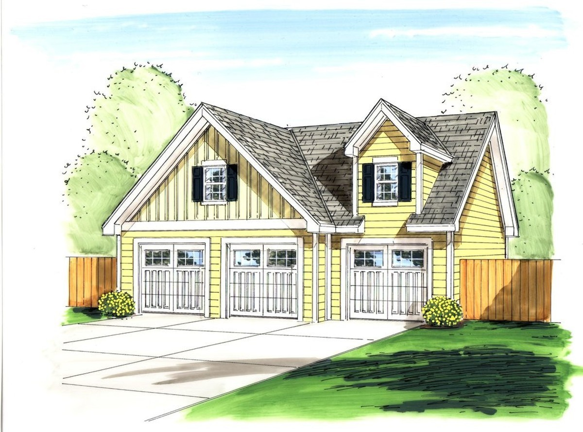 3 car garage with loft above 62517dj cad available for 3 stall garage plans