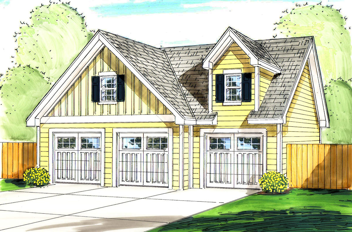 3 car garage with loft above 62517dj cad available for Garage architectural plans