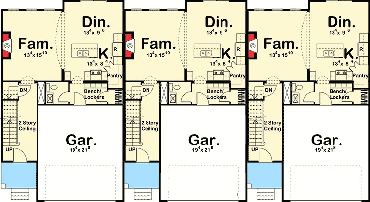 Easy to build 3 unit house plan 62523dj 2nd floor 2 unit building plan