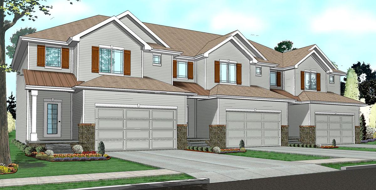 Easy to build 3 unit house plan 62523dj architectural for 3 unit house plans