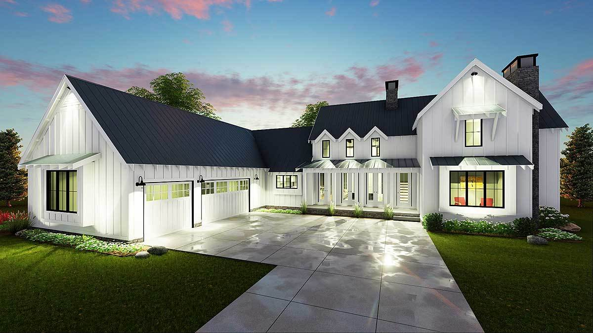 Modern 4 bedroom farmhouse plan 62544dj architectural for Large farmhouse house plans