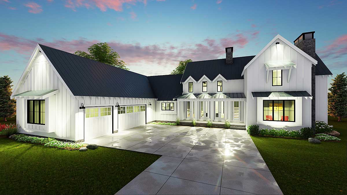 Modern 4 bedroom farmhouse plan 62544dj architectural for Small modern farmhouse plans