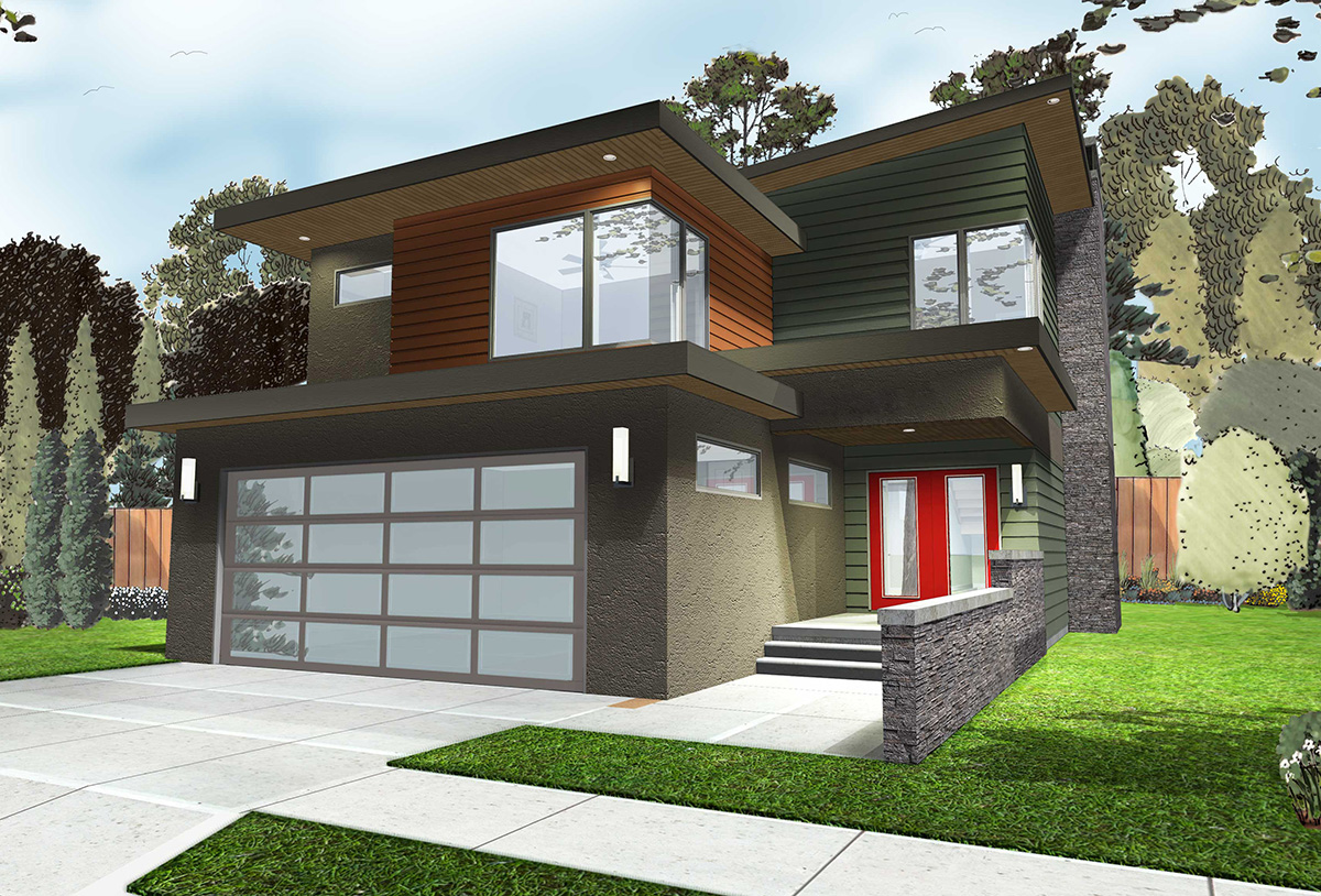 3 Bed Modern Home Plan With Covered Patio - 62545DJ