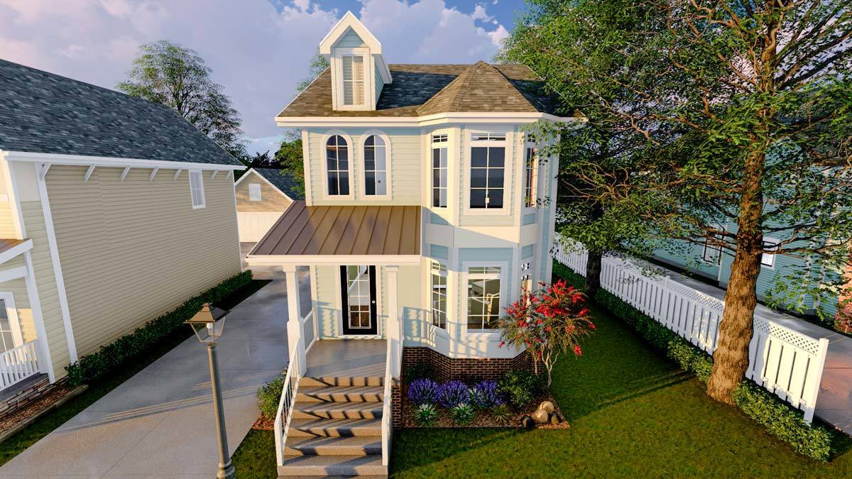Narrow lot townhouse 62557dj architectural designs for Victorian townhouse plans