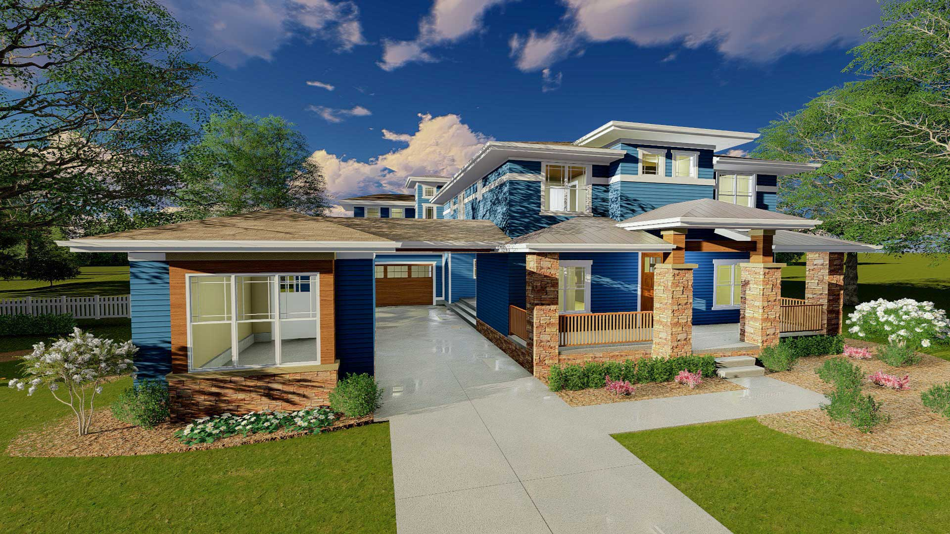 Prairie style house plan with porte cochere 62561dj for Prairie house plan