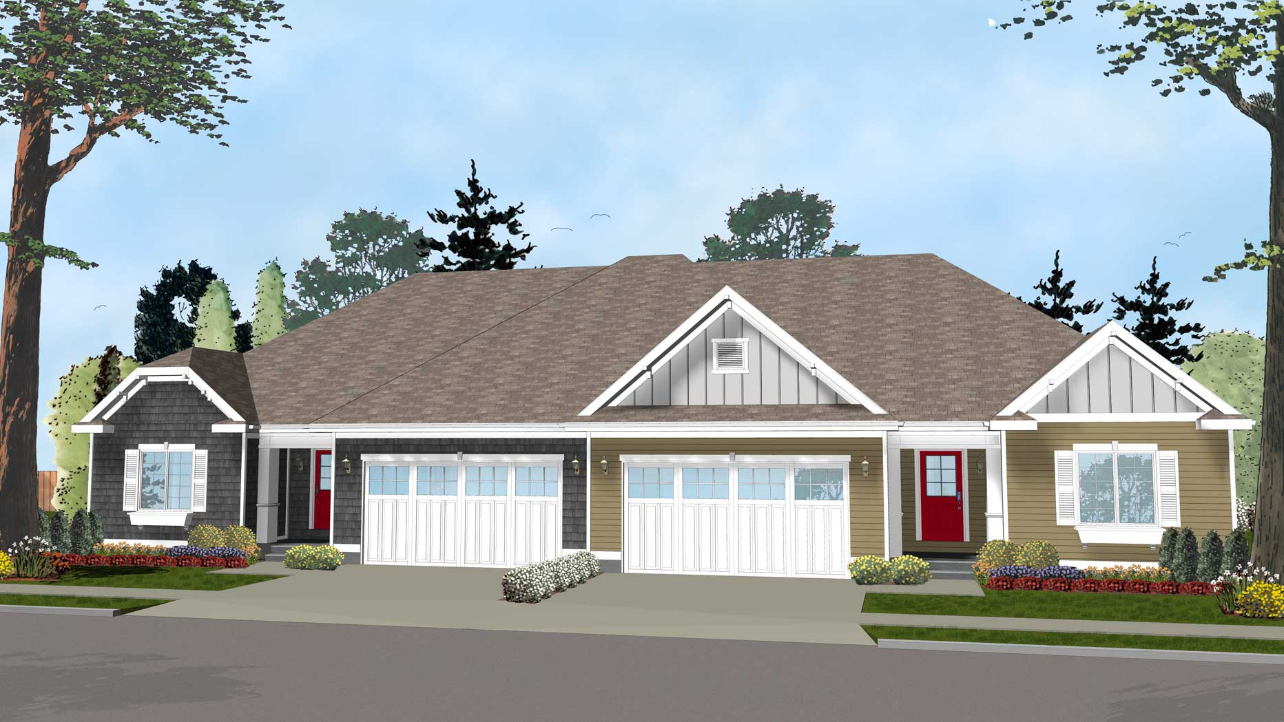 Easy to build duplex house plan 62562dj architectural for Duplex cottage plans