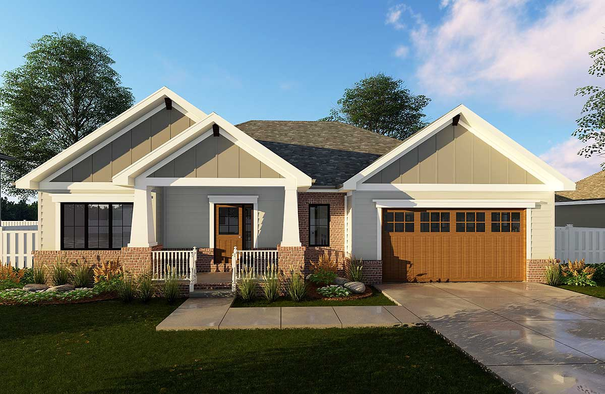 Craftsman ranch house plan 62565dj 1st floor master for Craftsman house plans first floor master