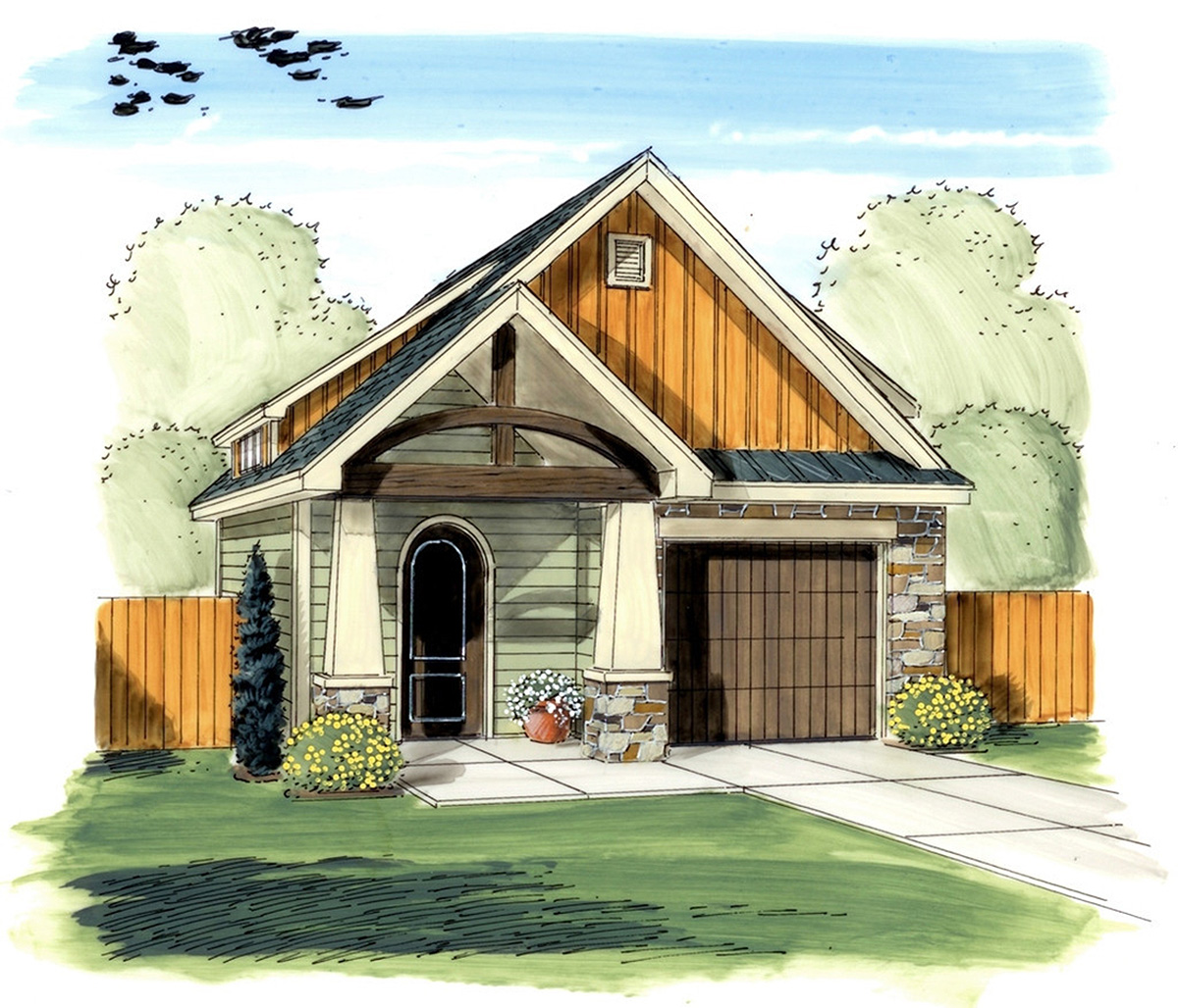 Garage Design Architecture: Craftsman Garage With Man Door - 62572DJ