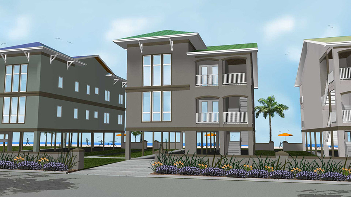 2 family house plan on stilts 62573dj architectural designs