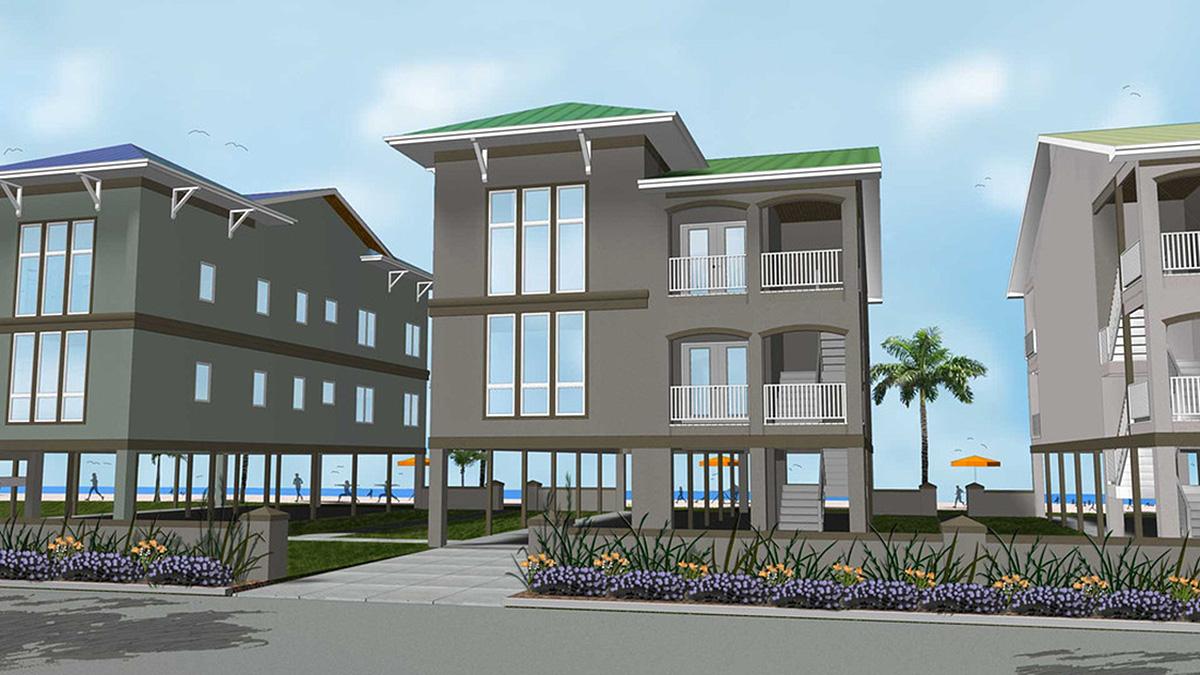 2 family house plan on stilts 62573dj architectural designs