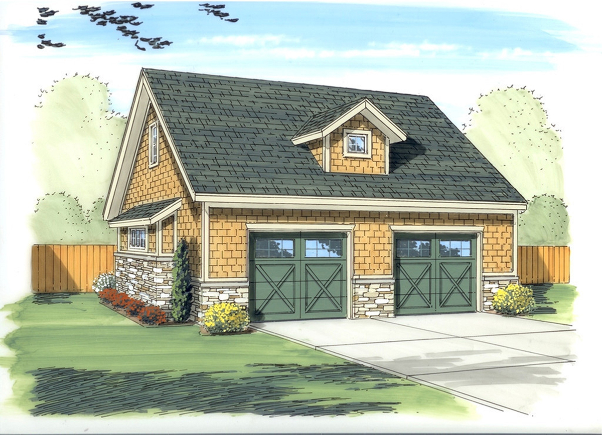 Craftsman garage with living above 62576dj for House plans with detached garage apartments