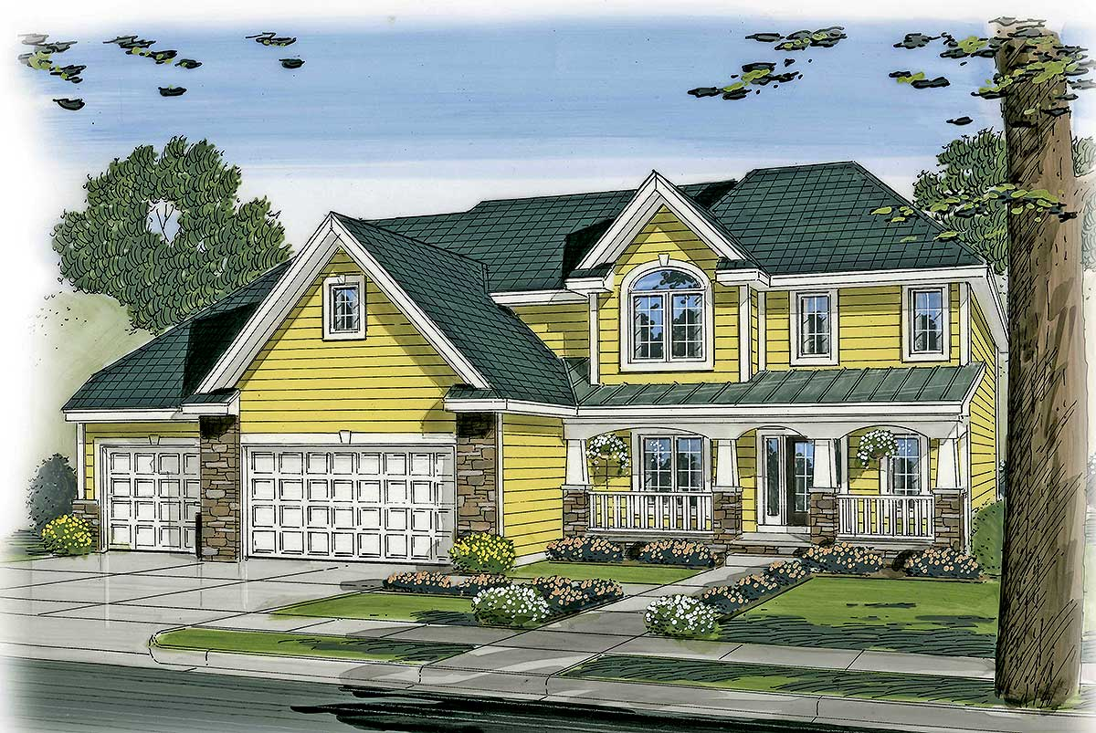 Country home with 4 car tandem garage 62577dj for 4 car garage home plans