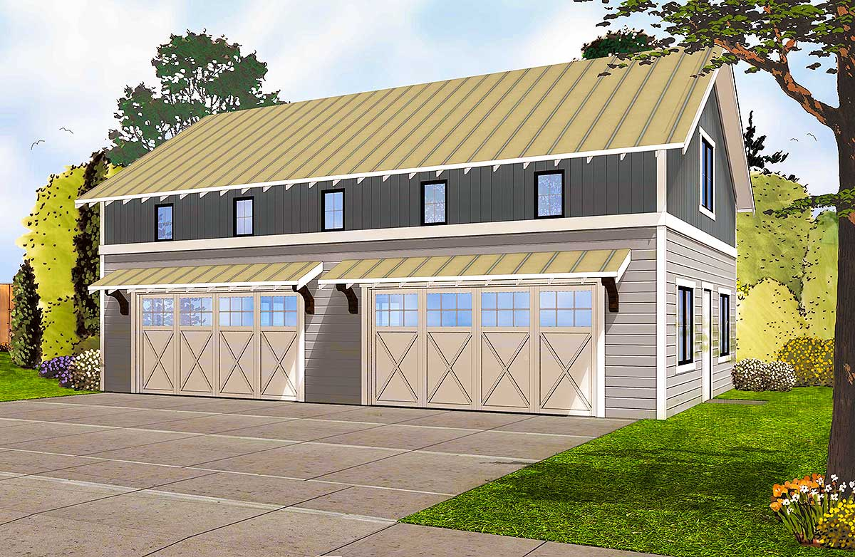 4 car garage with indoor basketball court 62593dj for Indoor basketball court plans