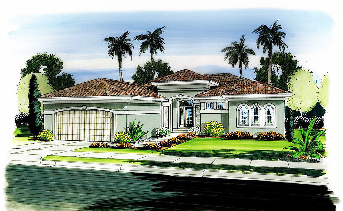 One Story Florida House Plan 62596dj Architectural