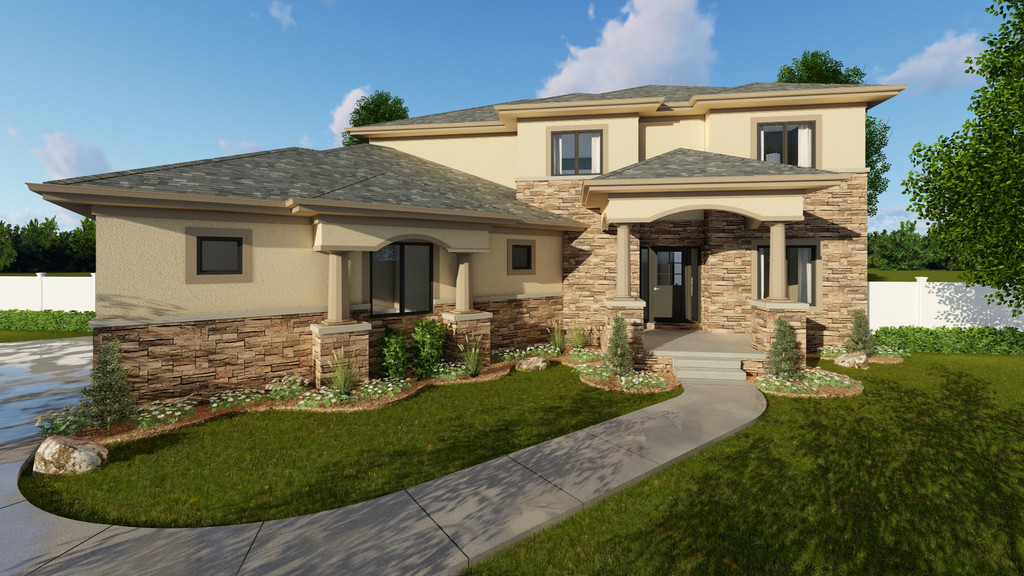 4 Bed Mediterranean With Angled Garage 62603dj