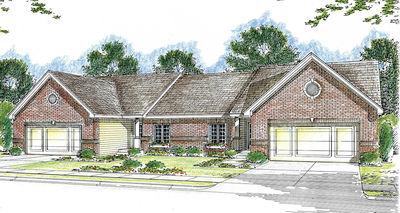 Modest ranch duplex house plan 62610dj architectural for Modest home plans