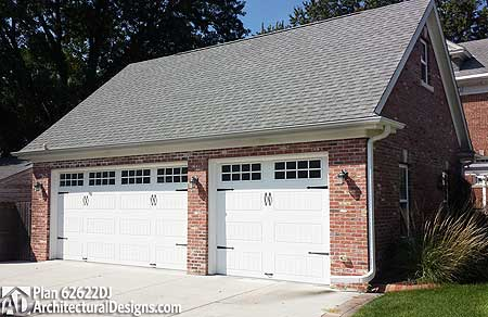 Detached garage plan with brick exterior 62622dj cad for Brick garage plans