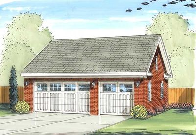 Detached garage plan with brick exterior 62622dj for Brick garage plans