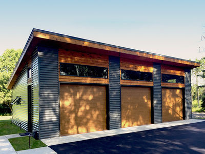 Modern garage plan with 3 bays 62636dj architectural for Flat roof garage plans modern