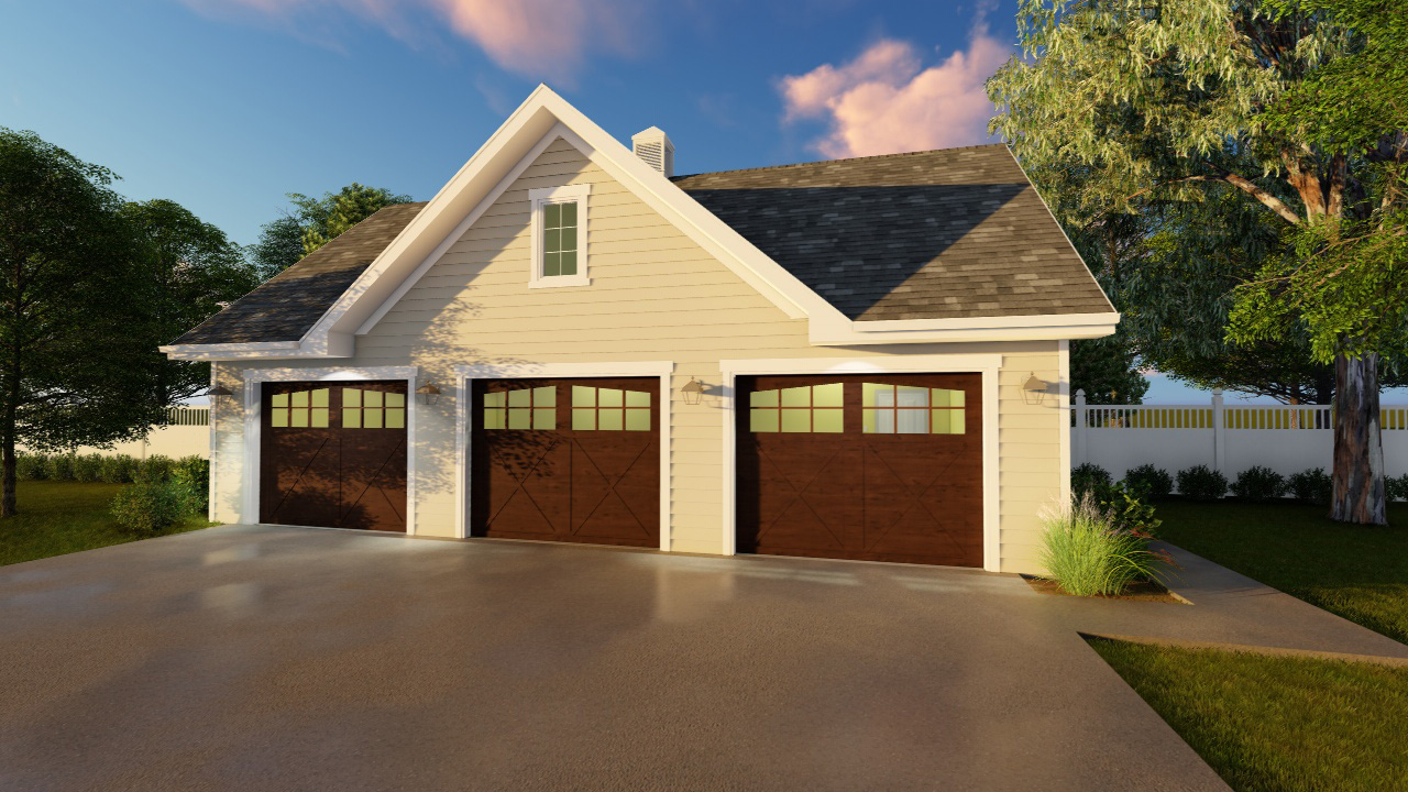Detached 3 car garage plan 62641dj cad available pdf for 3 car detached garage