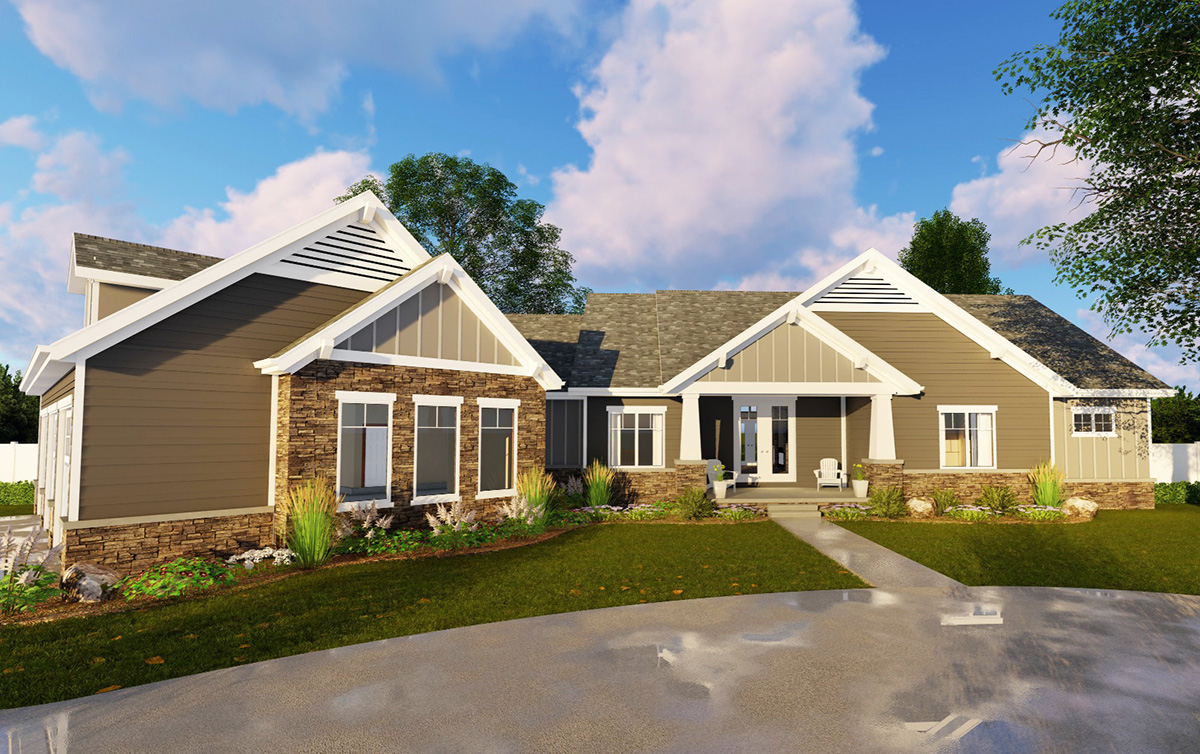 2 bed craftsman ranch with 3 car garage 62643dj for 3 car garage ranch home plans