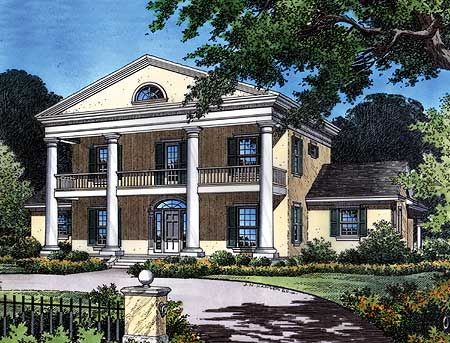 Plantation Style Home with Stacked Porches - 63149HD ...