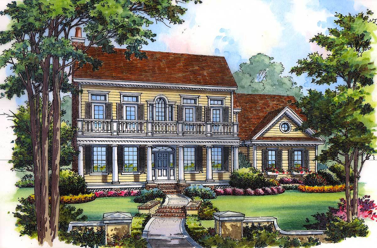 Traditional house plan with upper balcony 63154hd for Traditional balconies