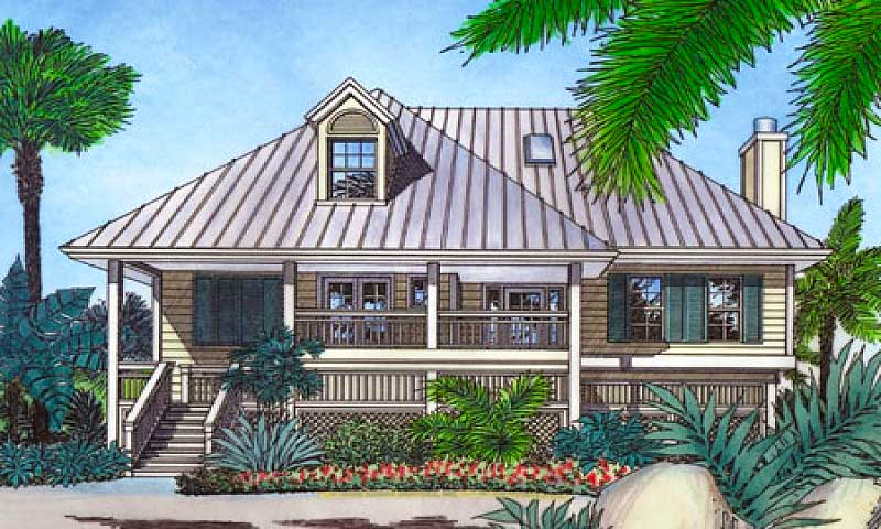Bermuda island style elevation 6351hd architectural for Tropical elevated house designs
