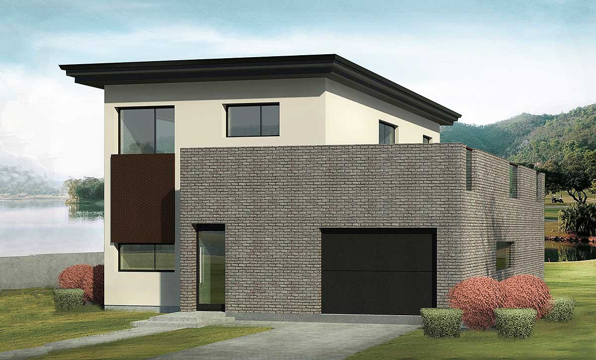 Narrow lot contemporary house plan 64205ek for Contemporary house plans for narrow lots