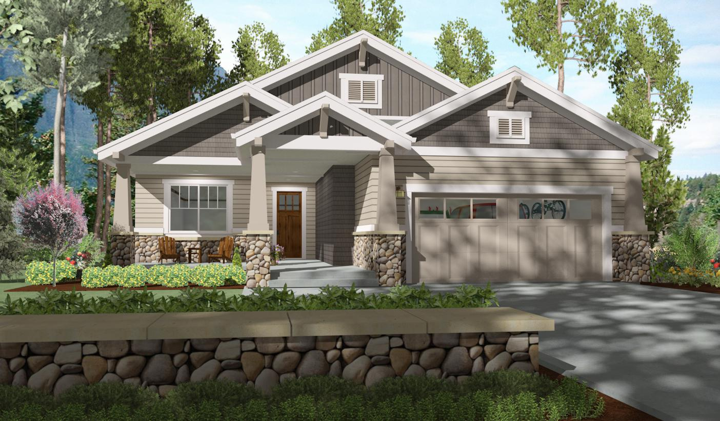 2 bed bungalow with rear covered patio 64410sc for Board and batten home plans