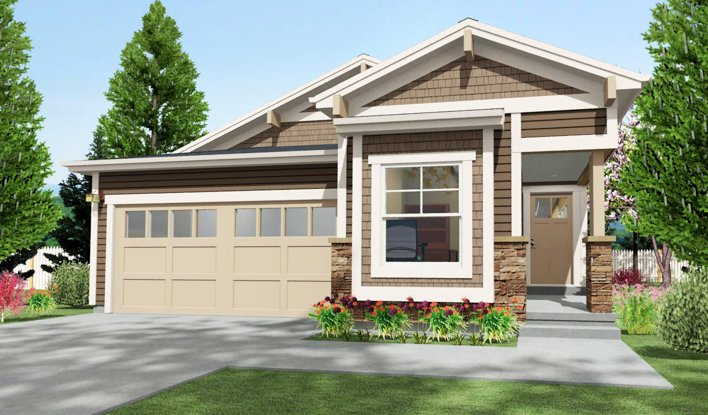 Narrow lot craftsman with 2 beds 64411sc architectural for Narrow lot modular homes