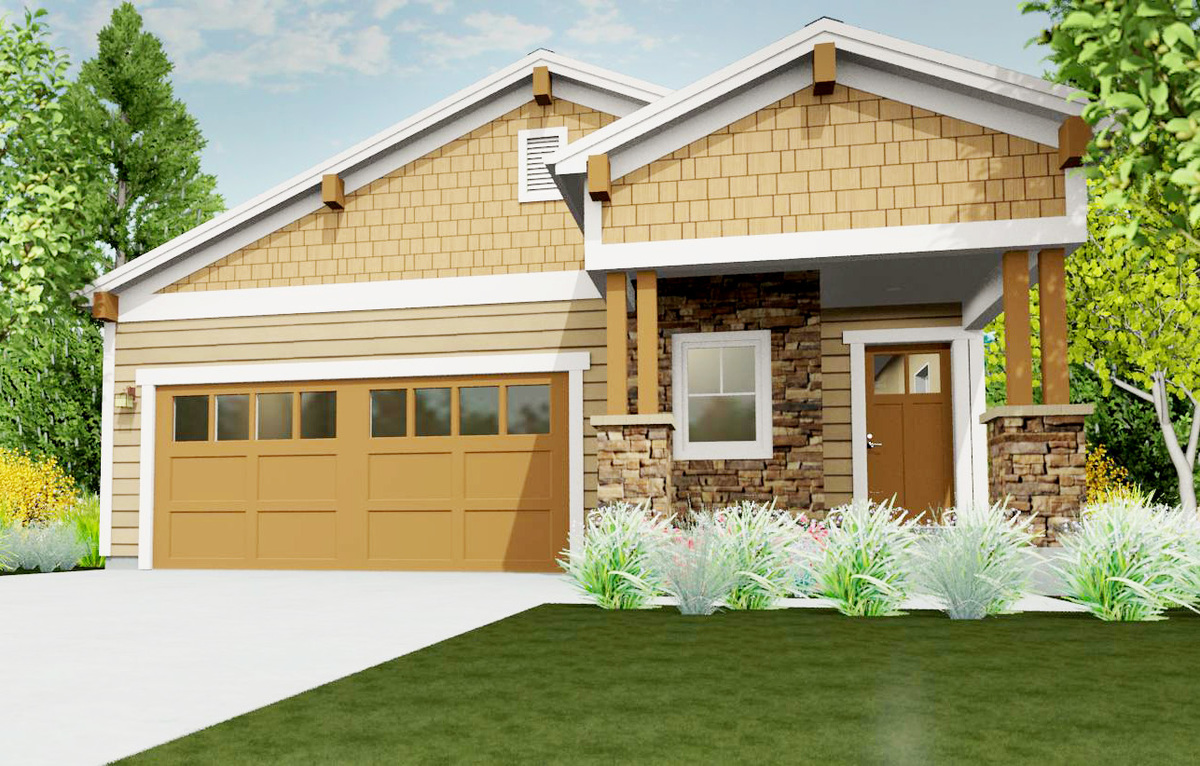 Narrow lot bungalow 64414sc architectural designs for Home plans for narrow lots