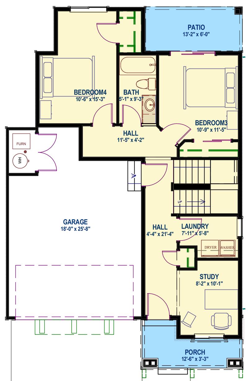 Upside Down Northwest House Plan - 64415SC floor plan - Main Level