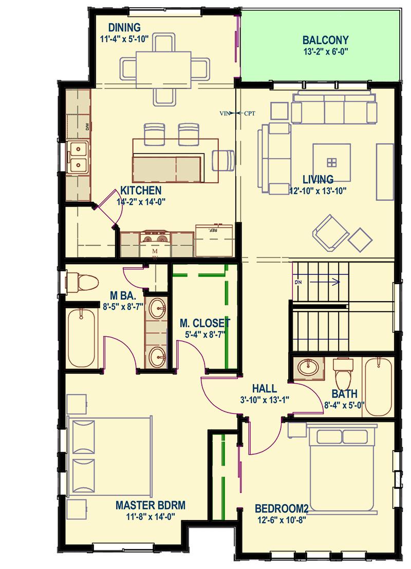 Upside Down Northwest House Plan - 64415SC floor plan - 2nd Floor