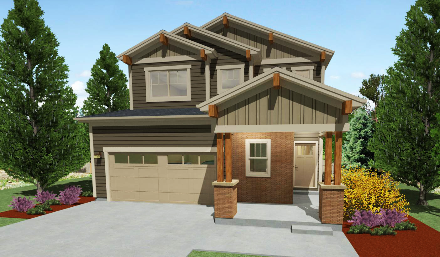 Narrow lot craftsman house plan 64416sc architectural for Narrow home designs