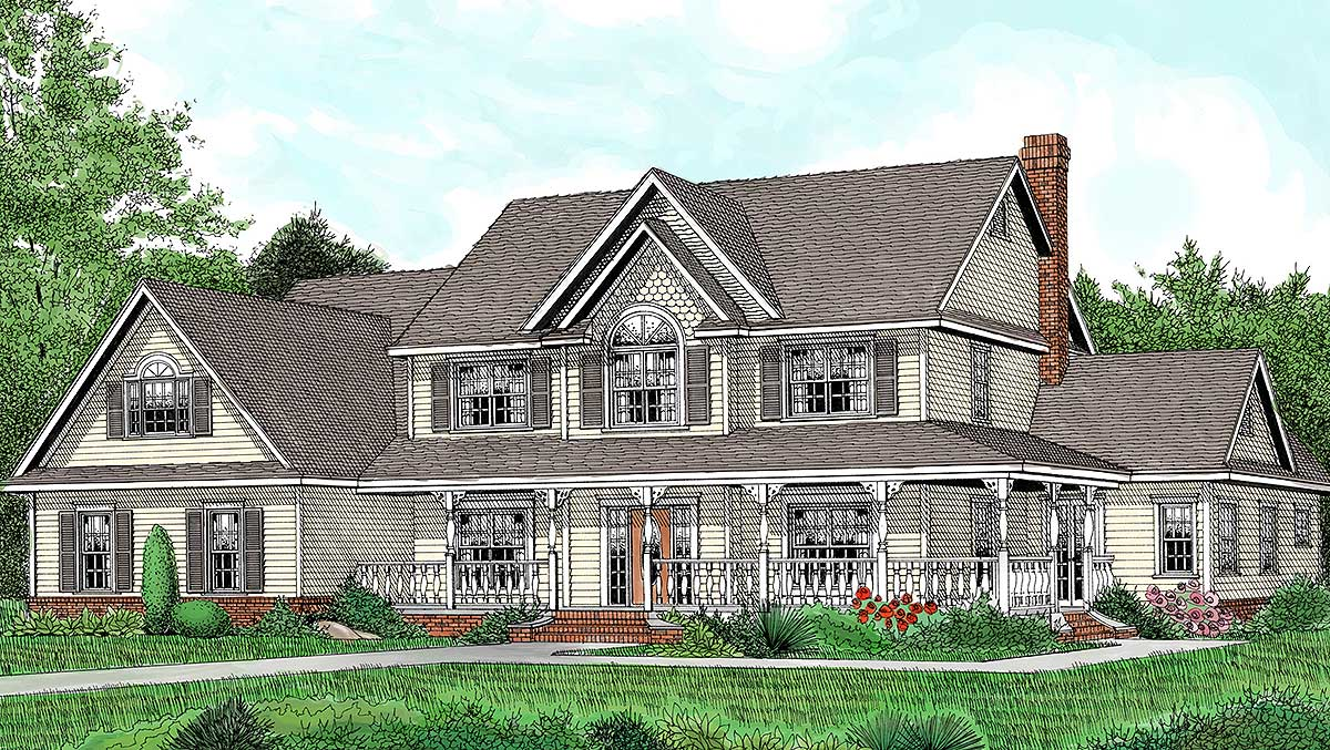 country farmhouse plan with lots of extras - 6539rf