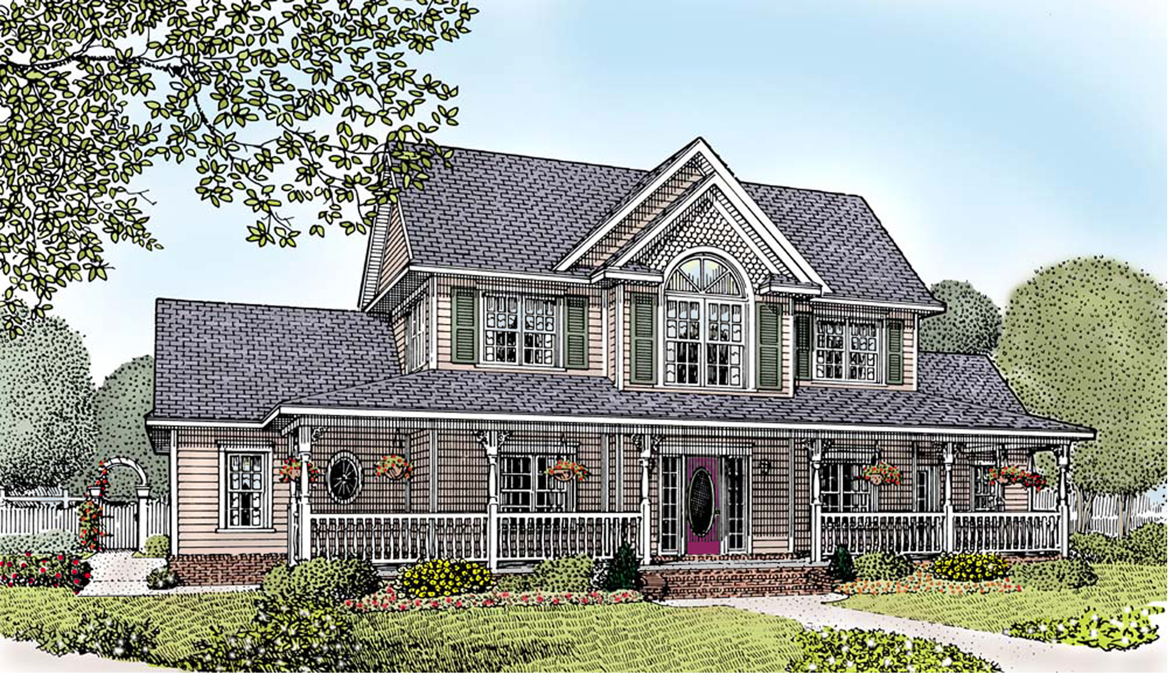 A country farmhouse with 3 car garage 6553rf for Country garage plans